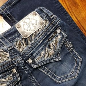 Miss Me 25 Bootcut Jeans 25x29 Short Bling Buckle